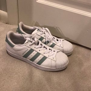 adidas Shoes - Light blue/green superstars
